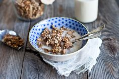 This granola recipe is a great way to incorporate buckwheat into your children's diet, a sometimes difficult thing to do due to its earthy taste. With coarsely cut nuts and the sweet aromatic nature of the dates, this crunchy granola makes a nutritious an