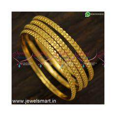 Simple Jewelry, Metal Jewelry, Blue Dart, Gold Bangles Design, Gold Plated Bangles, Flat Shapes, Imitation Jewelry, Bangle Set, Flower Patterns