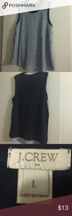 Sleeveless mixed media tank. Woven printed front and knit back. Sleeveless tank. Front: 100% polyester back: 60% cotton 40% polyester. Worn once, great condition. J. Crew Factory Tops Tank Tops