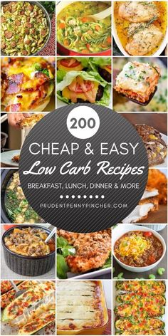 Low carb recipes don't have to be expensive. Here is a list of budget-friendly low carb recipes for breakfast, lunch, dinner, snacks, desserts and more. Please keep in mind that this is a low carb day dinner recipes mom 200 Cheap and Easy Low Carb Recipes Low Carb Dinner Recipes, Breakfast Recipes, Keto Dinner, Dinner Healthy, 200 Calorie Breakfast, Breakfast Crockpot, Low Carb Breakfast Easy, Diabetic Recipes For Dinner, Breakfast Cups