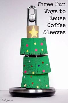 Here are three fun ways for your toddlers and preschoolers to reuse your coffee sleeves through Christmas crafts at LalyMom. Use a coffee sleeve with red and green paint to stamp patterns on paper. It makes awesome gift wrap and great for kids! Use one to make Rudolph! Or use one to decorate and stack Christmas trees! Your kids will enjoy all of these fun Christmas crafts while their hands get some strengthening of motor skills.