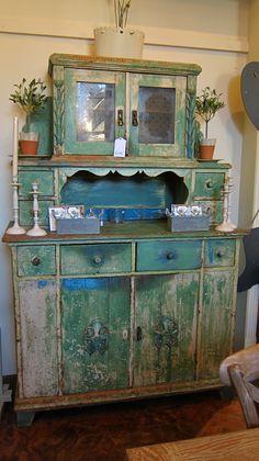 chippy blue green cupboard