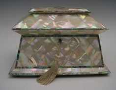 Glorious  BIG Antique Mother of Pearl Tea Caddy