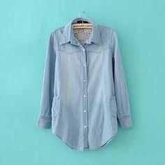 Long Slim Lone-Sleeved Denim Shirt Light Blue