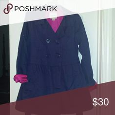 Black Friday!!! Girl's Navy Trench Coat.💟 Little Girl's Navy Trench Coat.  Hot pink lining. Belted. Barely worn. Very cute! Cherokee  Jackets & Coats Trench Coats