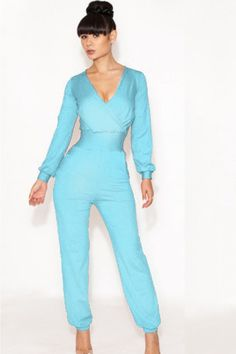 Women's Deep V Sexy Long Sleeves Jumpsuit-023042-07