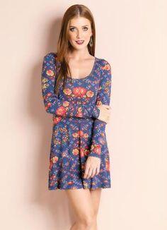 Vestido Evasê (Floral) Mangas Longas