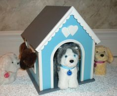 Blue Dog, Cat or pet house for American Girl doll or 18 doll  pets