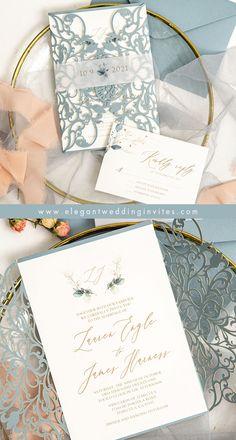 pretty dusty blue laser cut wedding invitation to suite your wedding color theme #EWI #wedddinginvitations