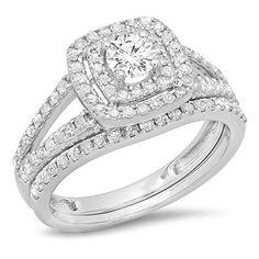 1.00 Carat (ctw) 10K Gold Round Diamond Bridal Split Shank Halo Engagement Ring Matching Band Set 1 CT