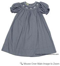 snowflake smocked dress. i love the gray color too!