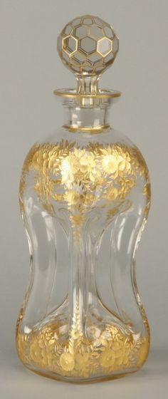Late 19th century Moser art glass decanter with wheel cut gold gilt floral designs