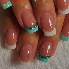 French manicure: White tips with red tiny dots along the bottom of the white. Ignore the colored 4th and 5th fingers. #beautynails