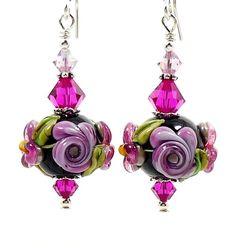 Floral Lampwork Earrings ~ Purple Pink Roses by BeadzandMore