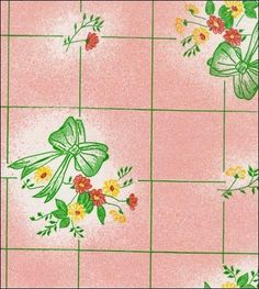 Bows and Bouquet Pink Oilcloth