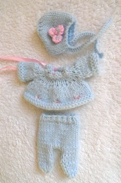 """Hand Knitted Dolls Clothes for 3,5-4""""  OOAK  Doll (# 120)"""