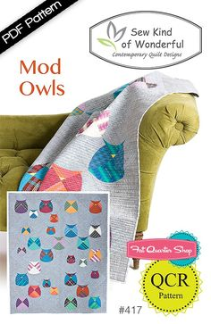 Mod Owls Quilt Downloadable PDF Pattern Sew Kind of Wonderful | Fat Quarter Shop