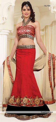 Beautiful Red Art Silk Lehenga Choli