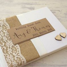 Hessian Lace Wedding Guest Book - Rustic Wooden Hearts Personalised Handmade for sale online Wedding Invitations Diy Handmade, Personalized Wedding Guest Book, Art Deco Wedding Invitations, Rustic Wedding Guest Book, Diy Invitations, Wedding Album, Wedding Book, Diy Wedding, Lace Wedding
