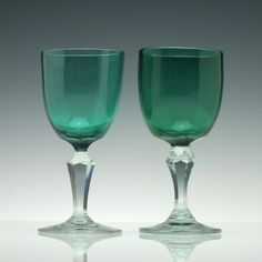 Peacock Blue Wine Glasses c1880