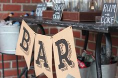 A masculine bar for a man's birthday party