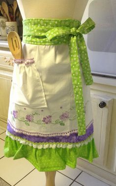 Woman's Hand Embroidered Half Apron Vintage by PancakesOnSunday, $36.00