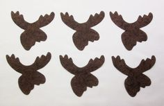 Set of 6 Brown Moose Iron-on/Sew-on Cotton Fabric Appliques for Quilts Etc #Unbranded