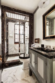 An A-List Designer's Iconic New York Home for Sale Steven Gambrel has long been one of my favorite interior designers. From his signature, cool blue-grey color palettes to his specific mix of masculine style executed in the most elegant way, Diy Bathroom Decor, Bathroom Colors, Bathroom Furniture, Bathroom Ideas, Bathroom Photos, Bathroom Inspo, Bathroom Layout, Furniture Sale, Furniture Design