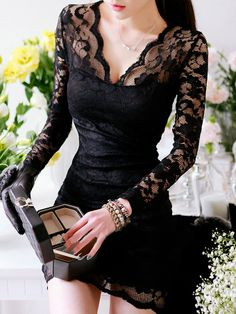 Seductive Long Sleeve Hollow Lace Curve Hugging Dress Black. Long this dress