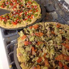 Hummus pizzas