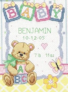 Completed baby w/ teddy bear cross stitch by StephSomethinSpecial