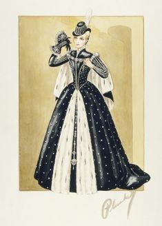 Costume Sketch of Lana Turner as Diane de Poitiers in MGM film 'Diane' Walter Plunkett, designer