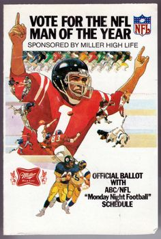 1980 MONDAY NIGHT FOOTBALL MILLER BEER FOOTBALL POCKET SCHEDULE FREE SHIPPING #SCHEDULE