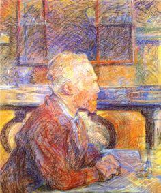 portrait of Vincent vanGogh by Henri de Toulouse-Lautrec - WikiPaintings.org