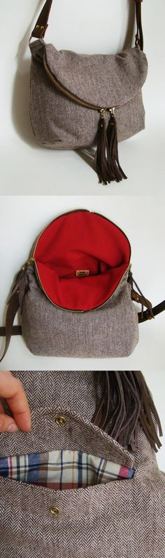 Chocolate Herringbone Wool Foldover Day Traveler Bag with real leather cross-body strap. $155.00, via Etsy.