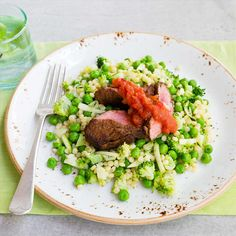 Moroccan Spiced Lamb with Green Veggie Pearl Couscous and Sweet Tomato Chutney