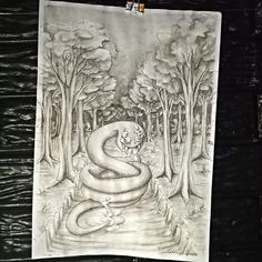 """""""Boitatá"""" (aguada de nanquim s/ papel) #art #arte #desenho #dessin #dibujo…"""