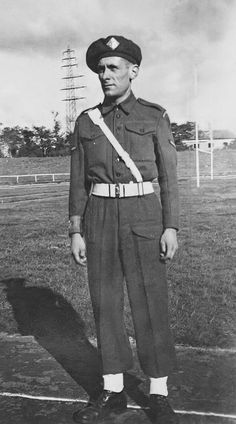 Bill Cheall in 1st East Lancs regimental police at a sports day in Duisburg, Germany, October 1945