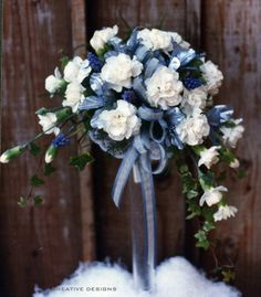 Crescent Shape Bouquet of White Miniature Carnations, Ribbon and Grape Hyacinth for Maid of Honor