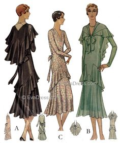 The 1930 matching Dress & Cape combination....very pretty and feminine!
