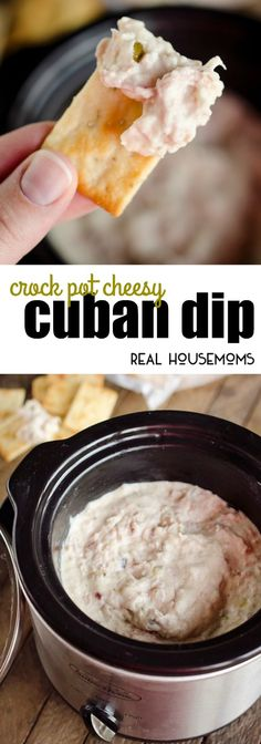 Crock Pot Cheesy Cuban Dip is an easy appetizer with all the flavors of a Cuban sandwich! via @realhousemoms