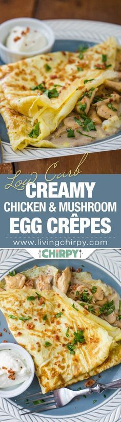 Low Carb Creamy Chicken and Mushroom Egg Crepe. An easy and simple low-carb breakfast you'll want to cook again and again. Low Carb Keto, Low Carb Recipes, Cooking Recipes, Healthy Recipes, Low Carb Breakfast, Breakfast Recipes, Crepe Recipes, Galette, Creamy Chicken