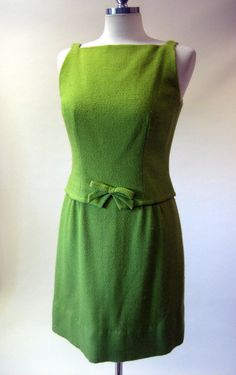 Vintage 60s Lime Green Dress Bow Front M by daisyfairbanks on Etsy, $69.00