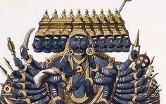 Ravana est un démon figurant dans le Râmâyana, texte fondateur de la mythologie hindou.