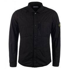 Stone Island Black Cotton Insulated Overshirt (705 BGN) ❤ liked on Polyvore featuring men's fashion, men's clothing, men's shirts, men's casual shirts, men, male clothes, shirts, tops, mens pearl snap shirts and mens cotton shirts