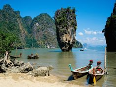 Phang Nga Bay is 95 kilometers from the more popular Phuket Island in Thailand. Description from newstourismworld.blogspot.com. I searched for this on bing.com/images