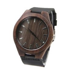 Men's Bamboo Wristwatch with Leather Band, Wooden watches, wooden watches for men, bamboo watches, bamboo watches men Simple Watches, Casual Watches, Men's Watches, Wooden Watches For Men, Coffee Colour, Dark Brown Leather, Walnut Wood, Wood Watch, Leather Men