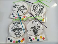 Troll Color Your Own Decorated Sugar Cookies by I Am the Cookie Lady 3rd Birthday, Birthday Parties, Royal Icing Sugar, Paint Cookies, Cookie Decorating, Decorating Ideas, Baby Party, Diy For Kids, Sugar Cookies