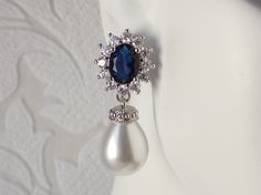 Something Blue Bridal Drop Earrings with Ivory or White Pearls - 1920s Wedding…