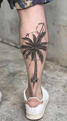 Leg Tattoos Small, Back Of Leg Tattoos, Tattoos For Women Half Sleeve, Arm Tattoos For Guys, Back Tattoo, Tree Leg Tattoo, Calf Tattoo Men, Palm Tree Tattoo Ankle, Palm Tree Tattoos